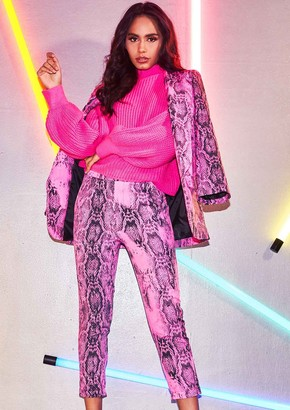ac3c885da9fc6 Missy Empire Missyempire Rachel Neon Pink Snake Print Trousers
