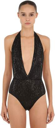 Sequined Deep V Neck One Piece Swimsuit