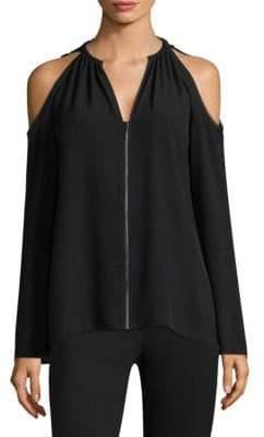 Elie Tahari Jahira Cold-Shoulder Zip Up Blouse