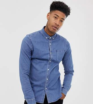 Asos Design Tall Stretch Slim Denim Shirt In Mid Wash