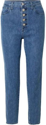 J Brand Heather Cropped High-rise Straight-leg Jeans - Mid denim