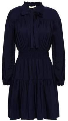 Maje Rosseane Pussy-bow Shirred Twill Mini Dress