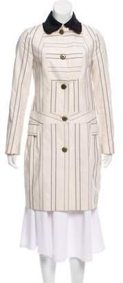 Peter Som Striped Knee-Length Coat