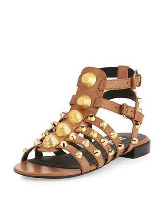 Balenciaga Studded Caged Flat Sandal, Marron Glace $795 thestylecure.com