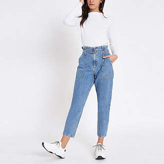 River Island Mid blue denim belted paperbag waist jeans