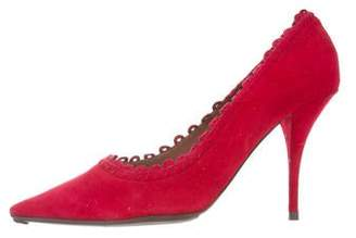 Tabitha Simmons Pointed-Toe Scalloped Pumps