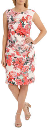 Painterly Floral Structured Dress with Rouching Detail