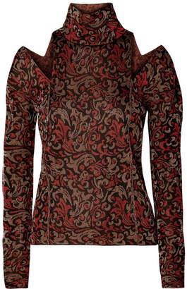 Chloé Cutout Metallic Jacquard-knit Turtleneck Sweater - Dark brown