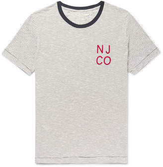 Nudie Jeans Roy Logo-Detailed Striped Organic Cotton-Jersey T-Shirt - Men - Off-white