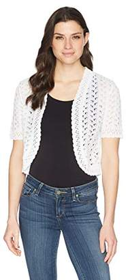 Ronni Nicole Women's Short Sleeve Crochet Knit Shrug