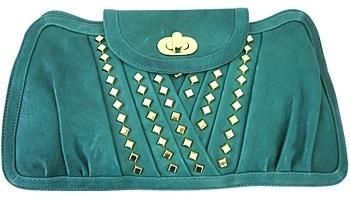 Treesje - Women's Turquoise Studded Metro Clutch