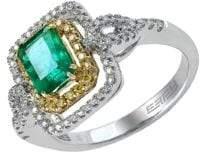 Effy Brasilica 14Kt. Yellow and White Gold Emerald Diamond Ring