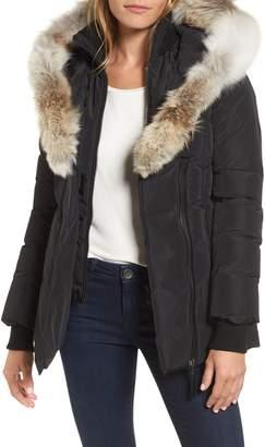 Mackage Hooded Down Parka with Inset Bib & Genuine Fox Fur Trim
