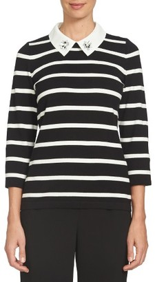 Women's Cece Embellished Collar Stripe Sweater $99 thestylecure.com