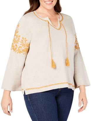 Style&Co. Style & Co. Plus Embroidered Peasant Sweater