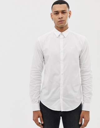Emporio Armani slim fit logo poplin shirt in white
