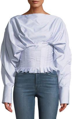 STYLEKEEPERS Minimalist Striped Long-Sleeve Blouse