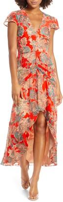Harlyn Floral High/Low Velvet Burnout Dress