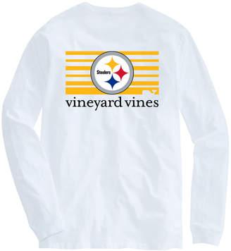 Vineyard Vines Adult Steelers Long-Sleeve Block Stripe T-Shirt