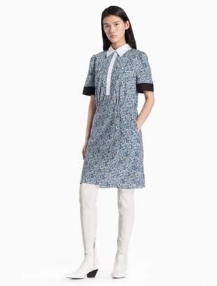 Calvin Klein floral contrast trim short sleeve dress