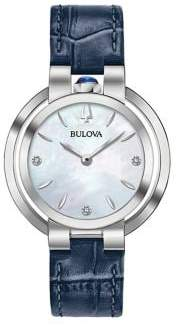 Bulova Rubaiyat Stainless Steel and Leather-Strap Watch