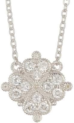 Judith Ripka Sterling Silver La Petite Pave Clover Station Necklace