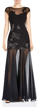 Halston Floral Embroidered Sheer-Detail Gown