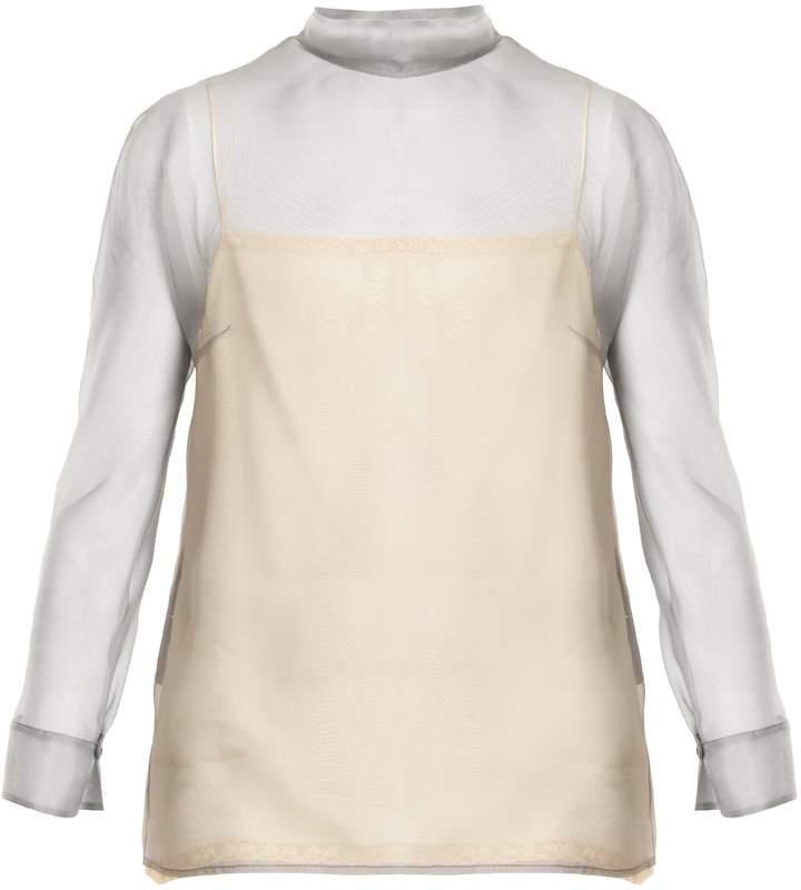 PRADA High-neck silk-organza blouse