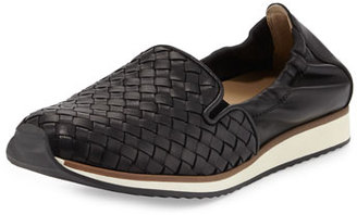 Sesto Meucci Caiden Woven Leather Slip-On Sneaker, Black $400 thestylecure.com