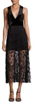 A.L.C. Lola Velvet Embroidered Lace Midi Dress