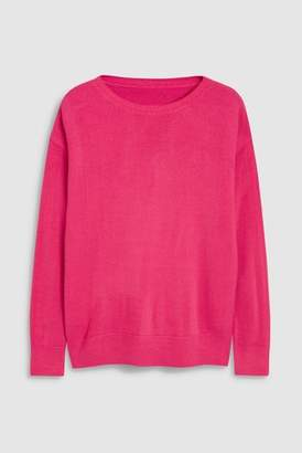 Next Womens Bright Pink Cosy Boat Neck Sweater