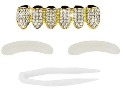 yellowradio Bottom Row With Simulated Diamonds Plated Mouth Bottom Teeth Grills