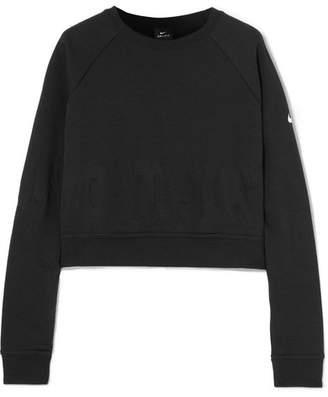 Nike Pro Versa Cropped Embossed Jersey Sweatshirt - Black