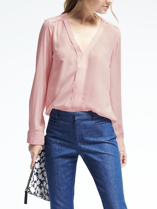 Banana Republic  Easy Care Vee Popover Blouse