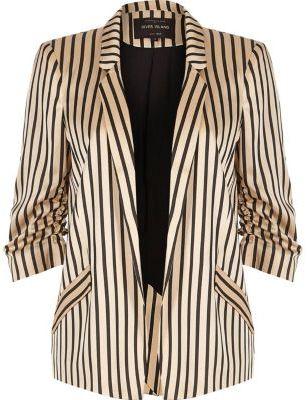 River IslandRiver Island Womens Pink stripe print ruched sleeve blazer