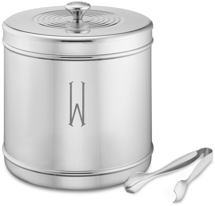 Williams-Sonoma Monogrammed Stainless-Steel Ice Bucket with Tongs