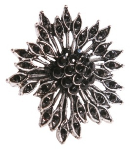 Antique Silver and Black Gem Flower Burst Ring