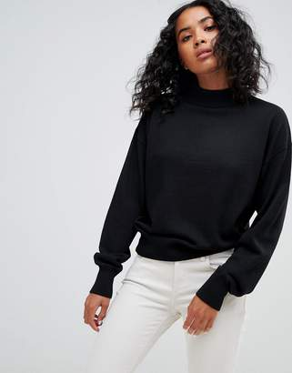 Asos Design DESIGN eco jumper in loose fit with turtle neck and balloon sleeve