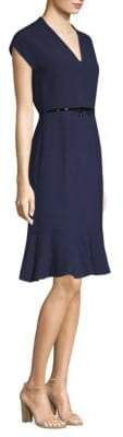 Max Mara Belted V-Neck Dress