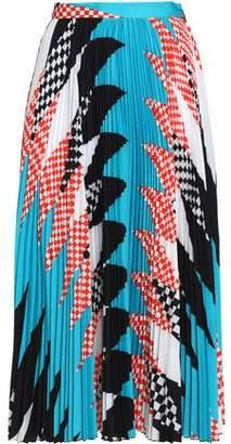 MSGM Pleated Printed Crepe Midi Skirt
