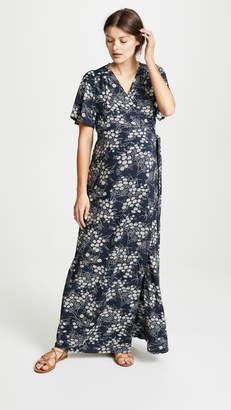 Ingrid & Isabel Flutter Sleeve Knit Wrap Maternity Maxi Dress