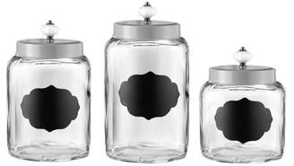 Jay Import Silver Glass Canisters - Set of 3