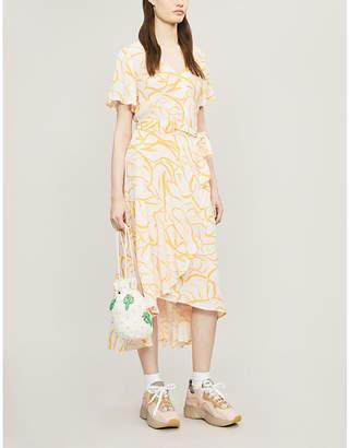 Samsoe & Samsoe Veneto floral-print asymmetric crepe midi dress