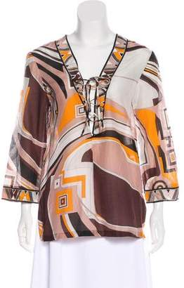 Emilio Pucci Lace-Up Long Sleeve Top