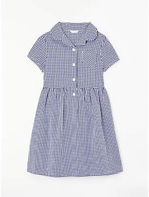 John Lewis School Belted Gingham Checked Summer Dress, Navy
