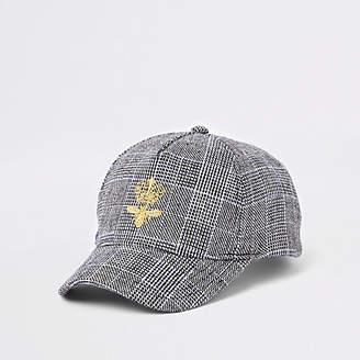 River Island Kids grey check print bee baseball cap