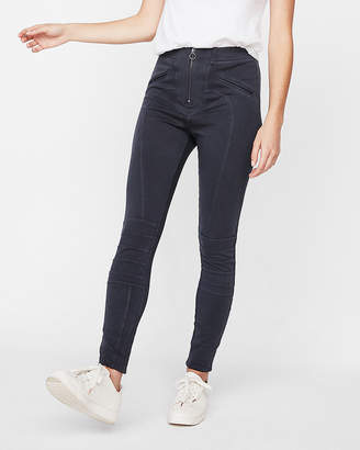 Express High Waisted Ponte Zip Front Moto Leggings