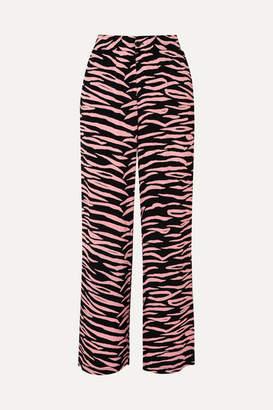 Ganni Lindale Zebra-print Crepe Pants - Pink