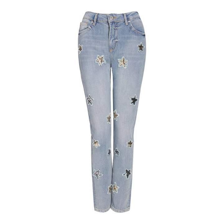 Light Blue Sequin Star Denim Boyfriend Fit Jeans