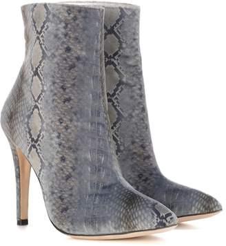 ALEXACHUNG Snakeskin-printed velvet ankle boots